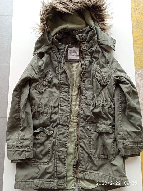 Kurtka dziewczęca wiosenna H&M parka odpinany kaptur, stan bdb+