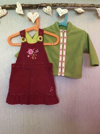 Zestaw: sukienka ogrodniczka + sweterek, rozm.80-86 cm