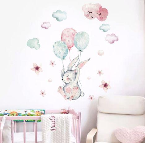 Bonito Adesivo Parede quarto Criança Coelhinho com Balões