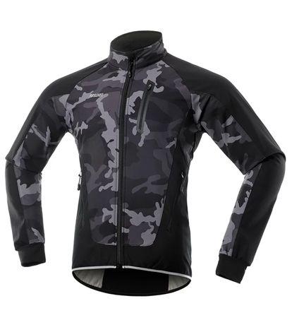 Kurtka rowerowa ARSUXEO bluza Softshell czarna + czarne moro