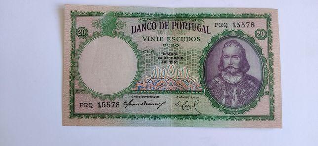 Vinte Escudos 1951 D. António Luiz de Menezes