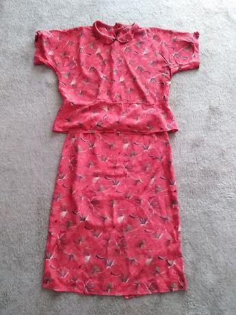 komplet spódnica i bluzka jedwabna