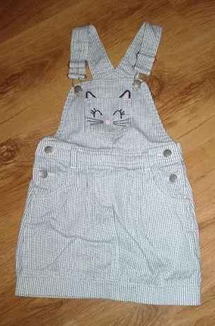 NEXT Sukienka w paski na szelkach 92cm 1,5-2 lata