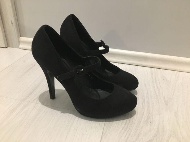 buty damskie szpilki czółenka czarne 39 obcas pasek