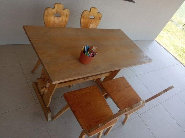 Solidny stół z drewna + 4 krzesła styl góralski ława cepelia drewno