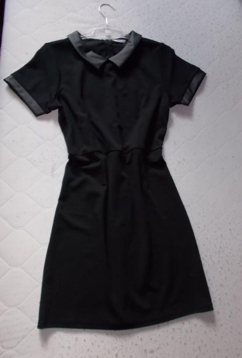 XL 42 44 Nowa Czarna elegancka sukienka skórzana wstawki Międzyrzec Podlaski - image 1