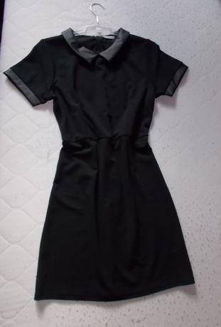 XL 42 44 Nowa Czarna elegancka sukienka skórzana wstawki