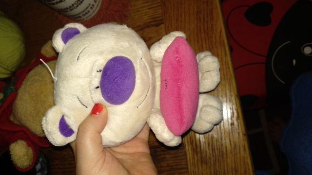 игрушка медведь мишка белый большая голова попа-шарики сердце розовое