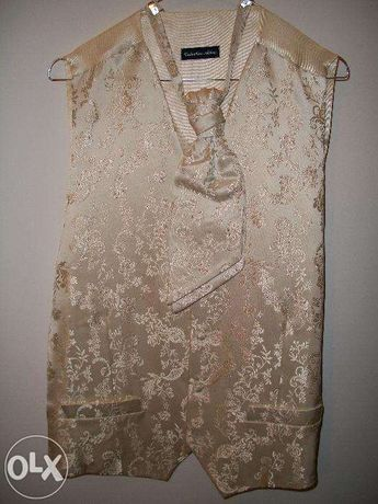 Ślubna kamizelka z musznikiem ecru, Collection Adam rozm. M, złota