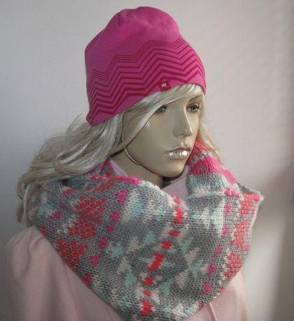 czapka ciepła różowa M