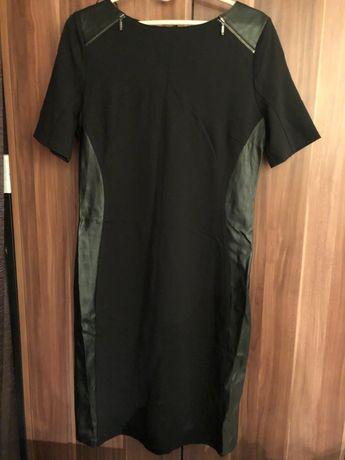 NOWA sukienka tunika ze skórzanymi wstawkami czarna Orsay rozmiar 40 L