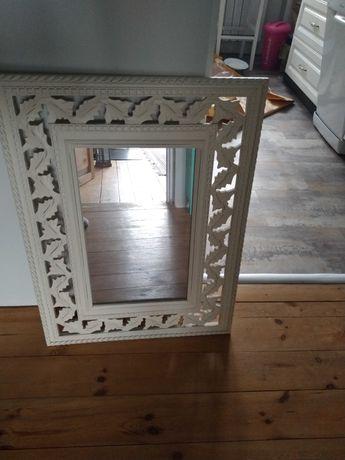 Duże lustro drewniane rzeźbione piękna dekoracja
