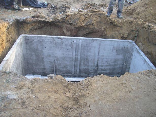 Zbiornik betonowy na deszczówkę, szamba-Montaż,Szambo betonowe