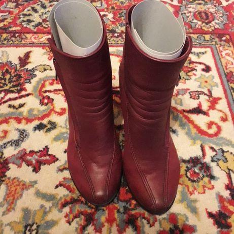 Сапоги и ботинки демисезонные на каблуке (кожа) (р.37)