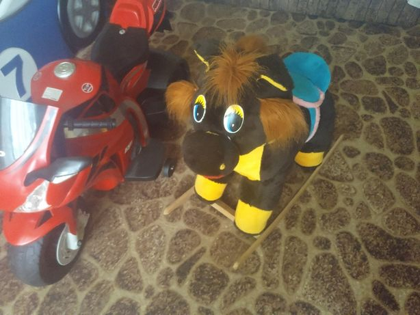 Детский Электро-мотоцикл+ Конь качалка