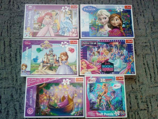 Puzzle trefl 100 / princess i barbie / zestaw