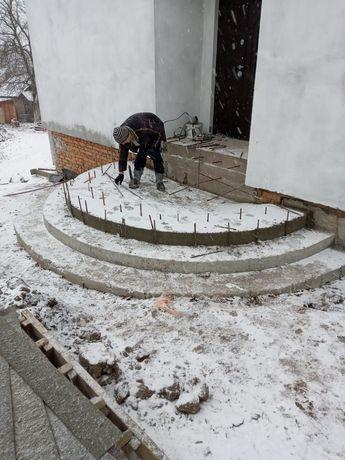 Сходи бетонні, армопояс, фундамент, забор, мурівка, кладка,штукатурка