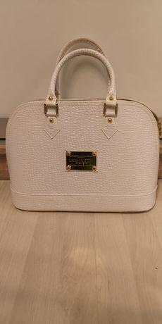 Torebka ala Louis Vuitton  biała tłoczona złote dodatki