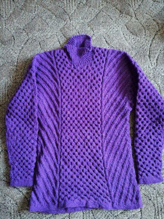 Ciepły, piękny ręcznie robiony sweter, fioletowy. Wysoka jakość Kraków - image 1