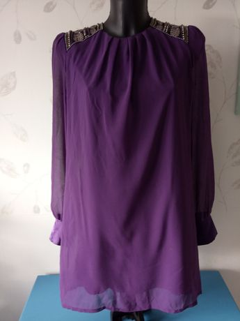 Fioletowa sukienka glamour 38
