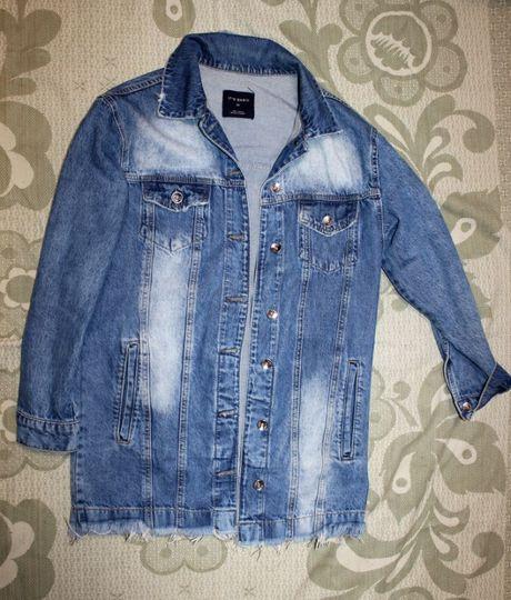 Куртка джинсовка джинсовая размер S удлиненая