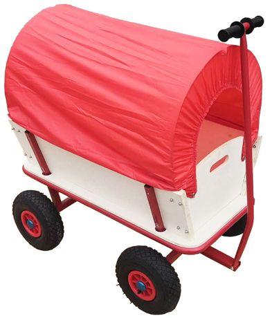 Wózek ogrodowy transportowy przyczepka z daszkiem do zdejmowania