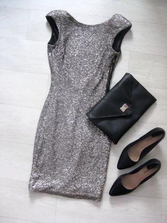 Серебристое блестящее платье Zara с пайетками открытая спина XS