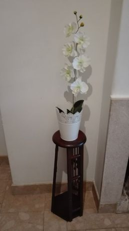 Coluna de madeira porta flor vaso madeira antiga