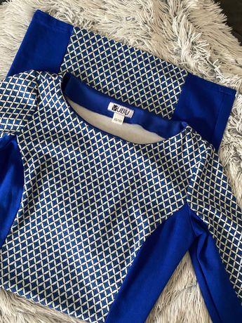 Chabrowa sukienka w geometryczne wzory rękaw 3/4  XS