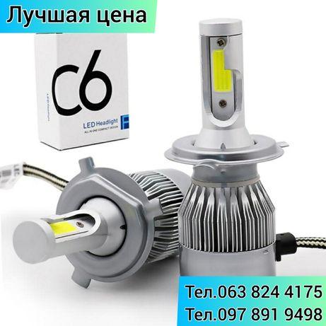 Светодиодные лед лампы H4/C6 аш4 для автоМобиля в головные фары, лед