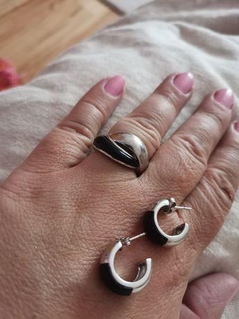 Zestaw Kolczyki i pierścionek W. KRUK Stan bardzo dobry srebro cyrk.