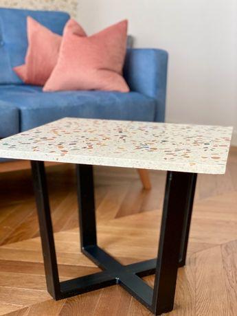 Stolik kawowy jaśminowy lastryko terrazzo marmur multikolor 60 x 60 cm