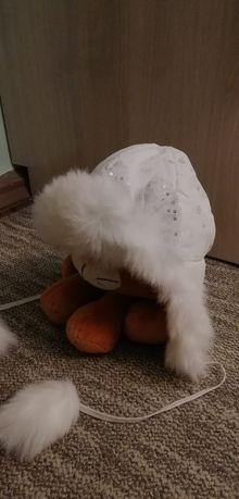 Шапка зимняя, шапка для девочки, белая шапочка, ушанка