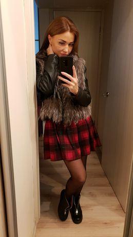 Кожаная куртка,жилетка с чернобуркой