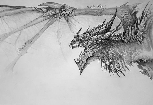 World of Warcraft WoW Rysunek Deathwing smok fanart duży Shadowlands