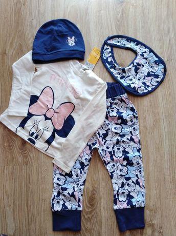 Zestaw dla dziewczynki spodnie czapka bluzka śliniak