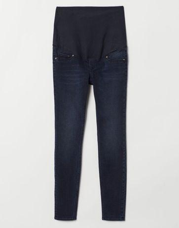 Spodnie jeansy ciążowe H&M Mama 40 ciemny granat skinny zwężane