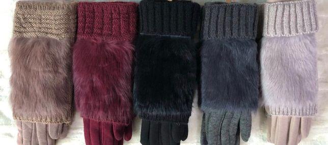 Перчатки женские сенсорные с мехом: черные, бордо