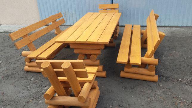 masywny zestaw mebli ogrodowych z bali drewnianych