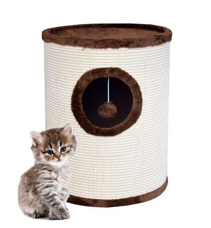 17019 Drapak dla kota z legowiskiem w kształcie tuby 50cm beżowo-brąz