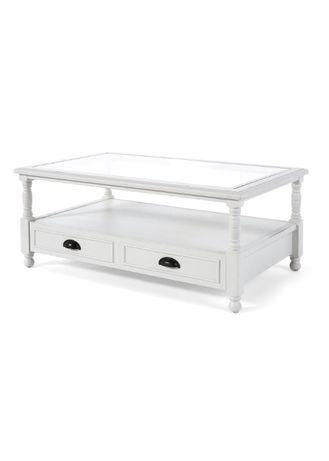 Biały stolik z drewna sonowego, szklany blat szuflada GLAMOUR