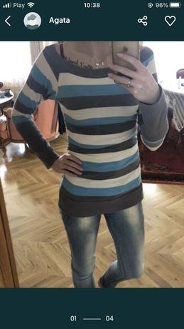 Bluzka tunika w paski rozmiar uniwersalny