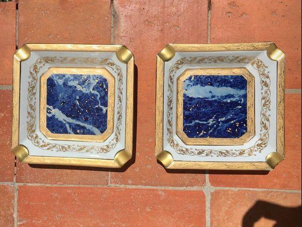 2 cinzeiros LAZEYRAS Limoges 14,5cm x 14,5cm