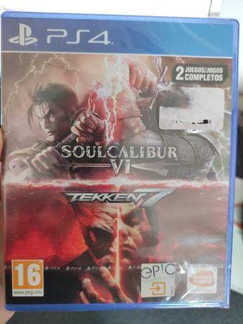 Tekken 7 + Soulcalibur VI PS4 - 2 jogos NOVO selado dá para ps5