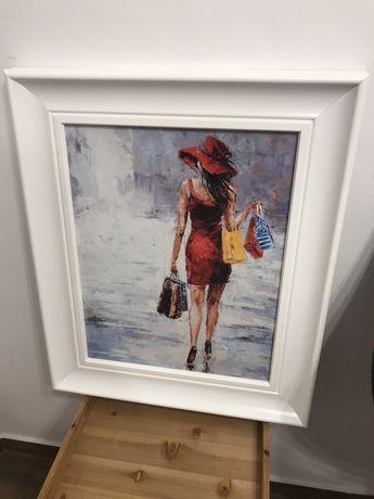 Obraz w bialej ramie Kobieta na zakupach Farby Akrylowe