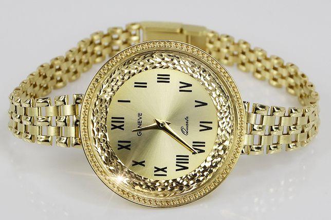 Prześliczny 14k złoty zegarek damski Geneve lw114y B