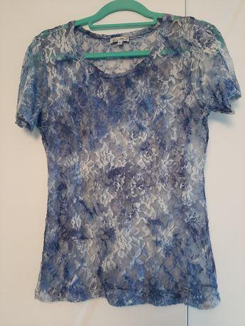 Niebieska prześwitujaca bluzka M