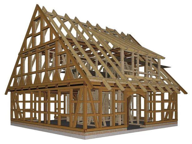 Więżba dachowa CNC, konstrukcje z drewna KVH na Hundegger