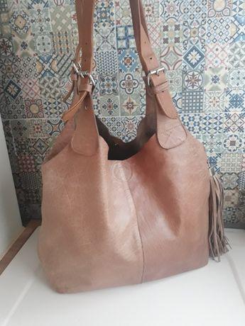 Skórzana torba shopper duża skóra naturalna