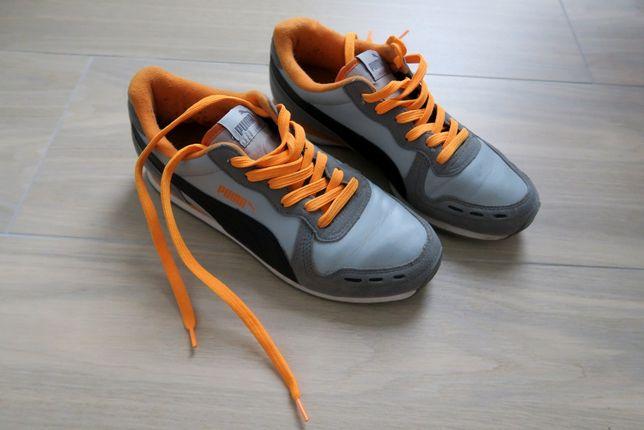 Puma adidasy 38,5 24,5cm szare pomarańczowe neon wiązane